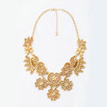 Luxury Retro Gold Alloy Hollow Flower Pendant Choker Bib Statement Necklace Women Jewelry