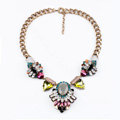 Luxury Unique Retro Multicolor Crystal Gemstone Pendant Choker Bib Statement Necklace Women Jewelry