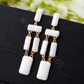 Luxury Unique White Gemstone Drop Stud Earrings Gold Plated Women Fashion Jewelry