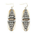 Retro White Crystal Geometric Dangle Earrings Gold Plated Women Fashion Jewelry