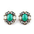 Simple Retro Crystal Blue Gemstone Stud Earrings Gold Plated Women Fashion Jewelry
