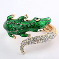 Women Retro Exaggeration Crystal Crocodile Alloy GP Bracelet Jewelry - Green