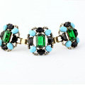 Women Retro Exaggeration Crystal Gem Alloy GP Bracelet Jewelry - Green