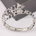 Women Retro Exaggeration Crystal leopard head Alloy GP Bracelet Jewelry - Black