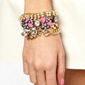 Women Retro Exaggeration Multilayer Crystal Pearl Love Bracelet Jewelry - Gold