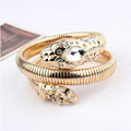Women Retro Exaggeration Multilayer Rhinestone Crystal Snake Bracelet Jewelry - Gold