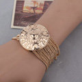 Women Retro Exaggeration Round badge Gold Plated Bracelet Jewelry - Gold