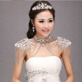 Best Luxury Lace Crystal Zircon Wedding Bridal Shoulder Chain Strap Shawl Necklace jewelry