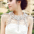 Classic Luxury Water Drop Crystal Wedding Bridal Shoulder Chain Strap Shawl Necklace jewelry