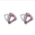 Classic Swarovskii Crystal Pink Rhinestone Triangle Stud Earring for Woman Fashion Jewelry