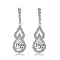 Classic Zircon Crystal White Gold Plated Water Drop Stud Earrings Women Banquet Jewelry