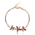 High Quality AAA Zircon Crystal Multicolor Flower 18K Rose Gold Plated Bracelet for Women Jewelry