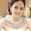 High Quality Vintage Luxury Crystal Woman Wedding Bridal Shoulder Chain Shawl Necklace jewelry
