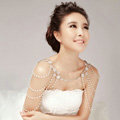 Hot Sell Flower Pearl Crystal Wedding Bridal Shoulder Chain Strap Shawl Necklace jewelry