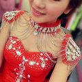 Luxury Crystal Lace Tassel Wedding Bridal Shoulder Chain Strap Shawl Necklace jewelry - Red