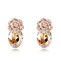 Pretty Swarovskii Crystal Champagne Rhinestone Flower Stud Earring Women Fashion Jewelry