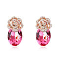 Pretty Swarovskii Crystal Rose Rhinestone Flower Stud Earring Women Fashion Jewelry
