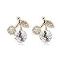 Top Quality White Swarovskii Crystal AAA Zircon Cherry Stud Earring Female Fashion Jewelry