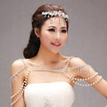 Unique Luxury Crystal Pearl Wedding Bridal Shoulder Chain Strap Shawl Necklace jewelry
