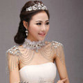 Unique Luxury Lace Crystal Zircon Wedding Bridal Shoulder Chain Strap Shawl Necklace jewelry