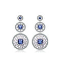 Vintage White Gold Plated Zircon Blue Rhinestone Drop Stud Earrings Fashion for Women Banquet