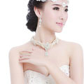 Luxury Multicolor Pearl Crystal Water drop Necklace + Earrings Wedding Bride Bridal Jewelry Sets