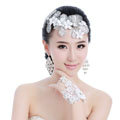 Unique Bride Jewelry Lace Flower Crystal Bridal Hair Headband Headpiece Wedding Accessories