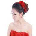 Unique Bride Jewelry Red Lace Flower Crystal Bridal Cheongsam Hair Headband Wedding Accessories