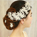 Elegant Pearl Crystal Bead Lace Flower Hairwear Wedding Bride Headband Bridal Hair Accessories