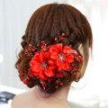 Elegant Red Crystal Bead Lace Flower Wedding Bride Headband Bridal Party Dress Hair Accessories