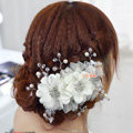 Elegant White Crystal Bead Lace Flower Wedding Bride Headband Bridal Party Dress Hair Accessories