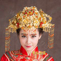 Luxury Agate Beads Tassel Phoenix Coronet Chinese style Wedding Bridal Cheongsam Vintage Hair Accessories