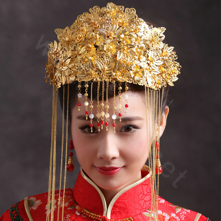 Buy Wholesale Luxury Bride Chinese style Costume Tassel Gold Phoenix
