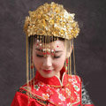 Luxury Bride Chinese style Costume Tassel Gold Phoenix Coronet Wedding jewelry Bridal Cheongsam Hair Accessories