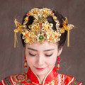 Luxury Bride Classic Costume Phoenix Coronet Flower Hair Clasp Cheongsam Married Bridal Hair Accessories