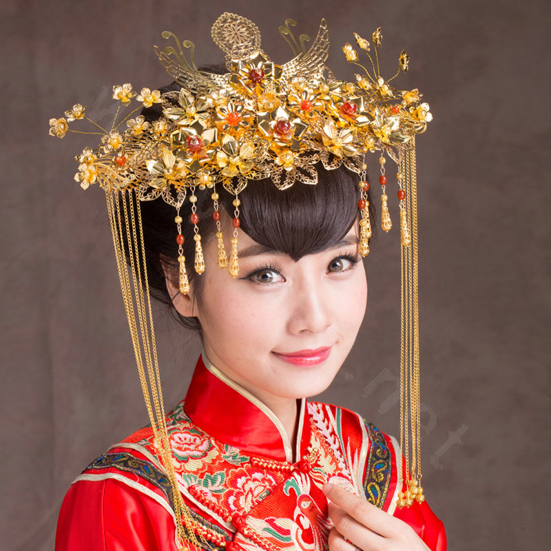 NAMELuxury Classic Costume Phoenix Coronet Tassel Hair Clasp Cheongsam Chinese Style Wedding Bridal Accessories