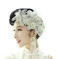 Luxury Crystal Pearl Lace Flower Hairwear Wedding Bride Headband Bridal Hair Accessories