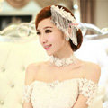 Luxury Lace Flower Tassel Crystal Bead Hairwear Wedding Bride Headband Bridal Hair Accessories