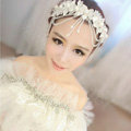 Luxury Pearl Crystal Bead Lace Flower Tassel Hairwear Wedding Bride Headband Bridal Hair Accessories