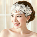 Luxury Pearl Crystal Lace Flower Hairwear Wedding Bride Headband Bridal Hair Accessories