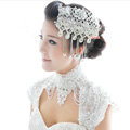 Luxury Pearl Crystal Lace Flower Tassel Hairwear Wedding Bride Headband Bridal Hair Accessories