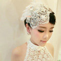 Luxury Rhinestone Lace Flower Tassel Hairwear Hats Wedding Bride Headband Bridal Hair Accessories