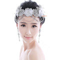 Luxury Rhinestone Lace Flower Tassel Hairwear Wedding Bride Headband Bridal Hair Accessories