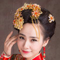 Luxury Simple Bride Classic Costume Tassel Flower Hair Clasp Cheongsam Married Bridal Hair Accessories