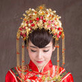Luxury Vintage Agate Beads Tassel Phoenix Coronet Wedding Headband Bridal Cheongsam Hair Accessories