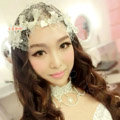 New Bride Jewelry Bowknot Crystal Mesh Lace Bridal Hair Headband Headpiece Wedding Accessories