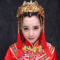 New Luxury Costume Bride Chinese style Gold Tassel Wedding jewelry Bridal Cheongsam Hair Accessories
