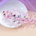 Plum flower Pink Crystal Bead Hairwear Wedding Bride Headband Bridal Party Dress Hair Accessories
