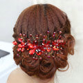 Plum flower Red Crystal Bead Hairwear Wedding Bride Headband Bridal Party Dress Hair Accessories