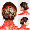 Retro Bride Rhinestone Butterfly Tassel Hair Comb Claw Cheongsam Wedding Bridal Hair Accessories